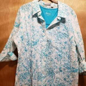 White Button Up Blouse with Blue Flowery Design